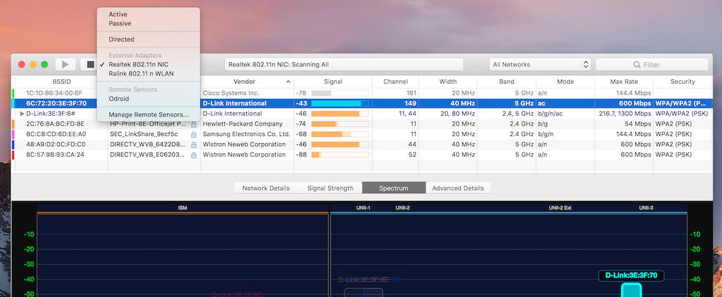 WiFi Explorer Pro Toolbar