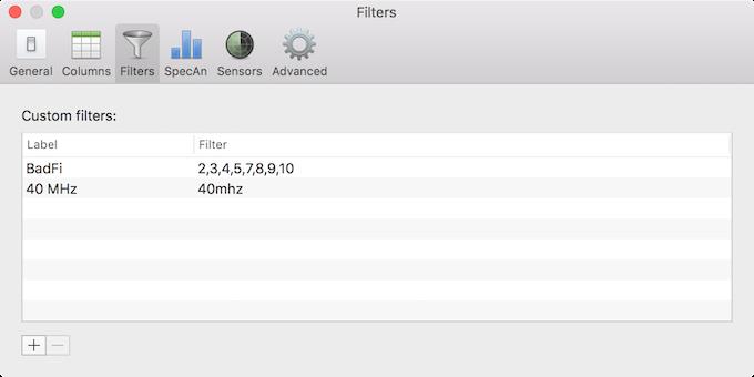 WiFi Explorer Custom Filters